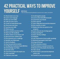 Health Motivation 42 Practical Ways To Improve Yourself happy life happiness positive emotions lifestyle mental health confidence self improvement self help emotional health Be A Better Person, Better Life, Be Better, Becoming A Better You, Nice Person, Beautiful Person, Self Development, Personal Development, Development Quotes