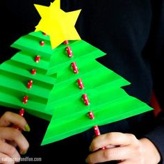 Accordion Paper Christmas Tree Craft for Kids christmas lollipop decorations, paper christmas decorations, dyi ornaments christmas Paper Christmas Tree Craft for Kidscreative christmas decor - wow xmas decorating ideas to produce a fantastic Christma Christmas Paper, Christmas Activities, Christmas Crafts For Kids, Christmas Projects, Simple Christmas, Holiday Crafts, Christmas Tree Ornaments, Christmas Decorations, Christmas Holiday