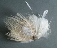 Wedding Accessory Ivory Peacock Bridal Hair Clip Feather Fascinator Bride HAIR PIECE w/ Rhinestone Jewel