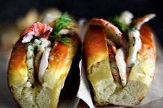 POOR MAN'S LOBSTER ROLLS WITH SHRIMP AND DILL MAYO.