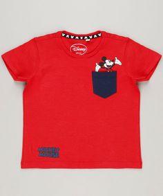Camiseta Infantil Mickey com Bolso Manga Curta Gola Careca Vermelha 4ddb839eaae72