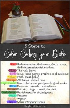 The Bible 147422587791154214 - 5 Steps to Color Coding Your Bible – With Free Printable Bookmarks – Delightful Paths Source by bamagalintn Bible Study Notebook, Bible Study Plans, Bible Study Tips, Bible Study Journal, Scripture Study, Bible Art, Bible Prayers, Bible Scriptures, Bible Highlighting