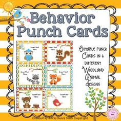 Use these fun punch cards to motivate your students. Each card has 20 circles that can be punched to be traded for a reward.There are 6 cards in a page, each with a different background and woodland animal. You can also personalize them with your own text.Print as many as you need. Classroom Behavior Chart, Behaviour Chart, Classroom Management, Classroom Ideas, Teaching Materials, Teaching Tools, Teacher Resources, Behavior Punch Cards, Positive Behavior Support