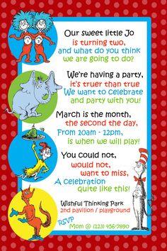 Dr. Seuss Invitation for Second Birthday