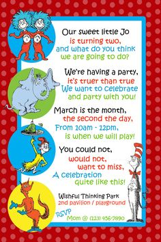 Dr. Seuss Invitation for Second Birthday