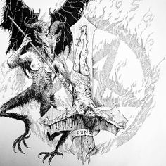 Bless Be The Goat of THousand Young.Bless it is for his Time Shall Come.Yeah For they Stand and Watch at the Gate. Satanic Tattoos, Satanic Art, Dark Artwork, Metal Artwork, Arte Horror, Horror Art, Demon Art, Occult Art, Goth Art