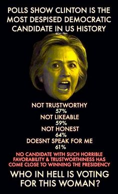 Who doesn't know about all her lies and crimes? We can do better than this for the first female president! We deserve better!!