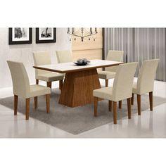 Conjunto de Mesa Luna com 6 Cadeiras Grécia Ype Branco Com Matelasse
