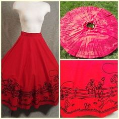 Red circle skirt with flocked western cowboy theme!