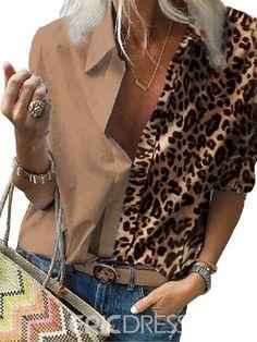 Loose Shirts, Loose Tops, Cheetah Print Shirts, Cheetah Print Clothes, Long Sleeve Tops, Long Sleeve Shirts, Pantalon Long, Basic Tops, Chiffon Shirt