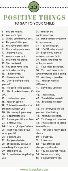 55 Positive Things To Say To Your Child As parents, the way we speak to our children is incredibly important. Words can build kids up, and they can just as easily tear them down. Check out our list of 55 positive things to say to your child on The Words, Kind Words, Parenting Advice, Kids And Parenting, Parenting Classes, Peaceful Parenting, Foster Parenting, Natural Parenting, Parenting Styles