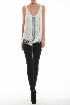 This would go GREAT... with anything really.  Fringe and bugle bead top