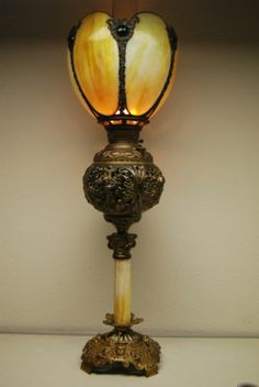 Antique OLD OIL Kerosene Slag Glass Victorian Jeweled Shade Banquet GWTW Lamp | eBay