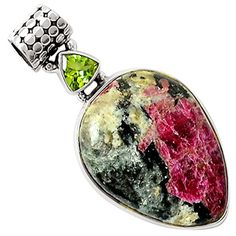 "Xtremegems Russian Eudialyte & Peridot 925 Sterling Silver Pendant Jewelry 1 5/8"" 7901P -- Awesome products selected by Anna Churchill"