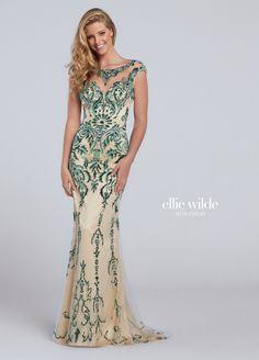 Ellie Wilde 117132 Green Nude Beaded Bateau Neck Prom Dress