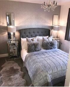 dream rooms for women - dream rooms . dream rooms for adults . dream rooms for women . dream rooms for couples . dream rooms for adults bedrooms . dream rooms for girls teenagers Glam Bedroom, Woman Bedroom, Home Decor Bedroom, Master Bedroom, Cozy Bedroom, Teen Bedroom, Modern Bedroom, Bedroom Furniture, Silver Bedroom