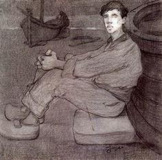 """Xavier Gosé Rovira (1876-1915). """"Home a la platja o meditación, 1900"""". Grafito, conté sobre cartulina. 40 x 26 cm."""