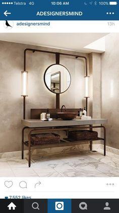 Oak Vanity Unit, Entryway Bench, Concrete, Mirror, Bathroom, Furniture, Design, Home Decor, Grande
