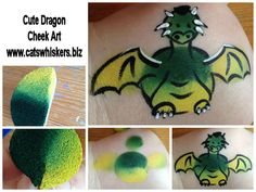 Dragon cheek art face painting design step by step by www.catswhiskers.biz