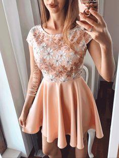 Rochie de ocazie scurta roz pastel cu corset brodat cu flori - Rochii - Rochii banchet Skater Skirt, Graduation, Pastel, Skirts, Dresses, Fashion, Vestidos, Moda, Skirt