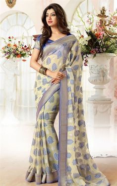 Picture of Classy Cream Latest Saree with Blouse