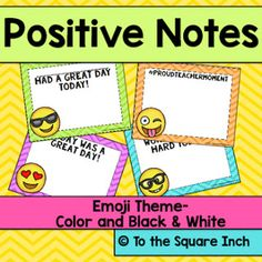 Emoji Theme Positive Notes - a fun way to encourage students & communicate the positives to their parents. Preschool Music Activities, Therapy Activities, Teacher Plan Books, Teacher Resources, 4th Grade Classroom, Classroom Themes, Classroom Organisation, Classroom Management, Positive Notes Home