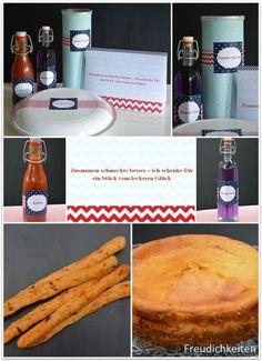 Das Paket für meine Tauschpartnerin Claudia: Lavendelsirup, Ketchup, Tomaten-Grissini, Ricottakuchen