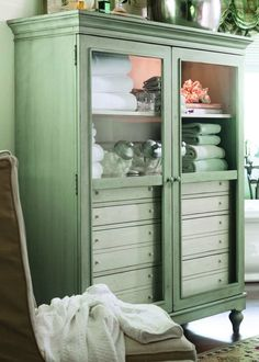 Paula Deen Home The Bag Lady's Cabinet in Spanish Moss  | Free White Glove Delivery | No  Sales Taxes