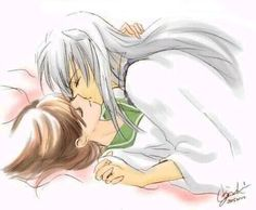 InuYasha and Kagome kiss bed - InuYasha fan art