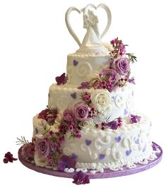 White Wedding Cake with Purple Roses PNG Clipart
