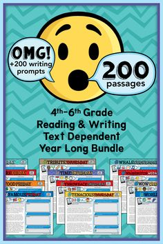 August - May Bundle! 200 Text Dependent Reading Passages with Daily Writing Prompts . It also includes Constructed Response Reading and Writing using text evidence. The daily writing rotates the CCSS narrative writing, expository writing, and opinion writing. This bundle has a Google Classroom option using Google Slides and pdf color and b/w printables option. Writing Prompts Funny, Expository Writing, Narrative Writing, Opinion Writing, 5th Grade Ela, 5th Grade Writing, 6th Grade Reading, Passage Writing, Reading Passages