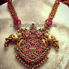 Jewellery Designs: Ruby Ethnic Set with Elephant Pendant