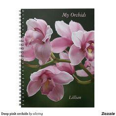 Deep pink orchids notebook
