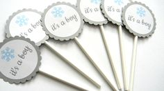 12 It's a Boy Toppers, Snowflake Theme, Gender Reveal, Baby Shower, Boy Shower, Gender Announcment, Winter Theme, Snowflake Party, Baby Boy by thepartypenguin on Etsy