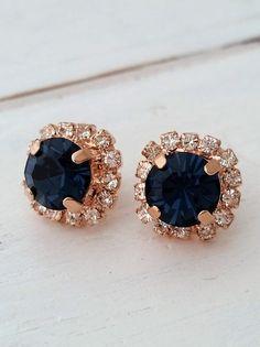 Rose gold Navy blue earringsnavy blue bridesmaid