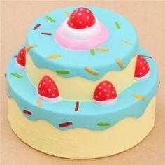 Vlampo squishy torta di compleanno glassa blu kawaii
