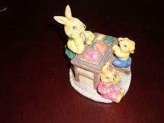 Cute Rabbits Pottery Ornament Figurine