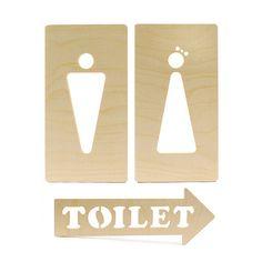 wooden door sign - toilet 자작나무로 만든 화장실 도어싸인