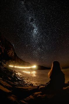 A streak of light raced across the night sky and settled into the ocean, leaving behind trails of....fairy dust.