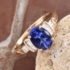 Yellow Gold Premium AAA Tanzanite and Diamond Ring Tanzanite Jewelry, Fashion Jewelry, Women Jewelry, Jewelry Stores, Sapphire, Yellow, Diamond, Womens Fashion, Earrings