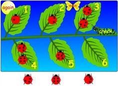 Interactive Education: Ladybug Counting match the no of spots to the no on leaf Preschool Math, Math Classroom, Kindergarten Math, Fun Math, Teaching Math, Ks1 Maths, Teaching Spanish, Classroom Ideas, Interactive Whiteboard