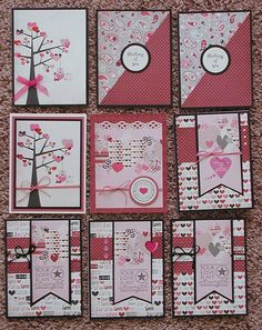 """Like these ideas for cards.  [Oldstamper Musings: More love cards.   Fancy Pants """"Love Notes"""" 6x6 pad.]"""