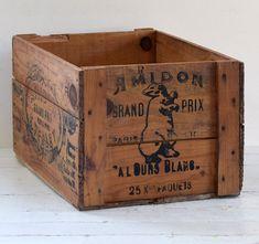 Large #antique French starch #crate, c. 1900 | #vintagedecor #banksy #antiques #forsale