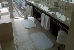 Hotel Ensuite Bathroom - Polished Marble Floor and Vanity Scope of work: sand, polish and protect floor and vanity with a penetrating sealer. Marble Floor, Bath Mat, Vanity, Polish, Flooring, Bathroom, Gallery, Home Decor, Dressing Tables