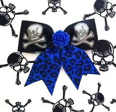 Psycho Rose Skull and Crossbone Leopard Hair Bow - Electrifying Blue * Get yours here: http://punkupbettie.bigcartel.com/product/psycho-rose-skull-and-crossbone-leopard-hair-bow-electrifying-blue