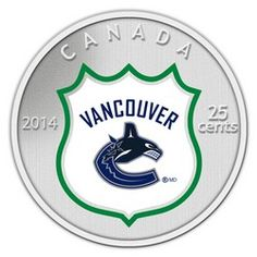 Royal Canadian Mint 2014 NHL Coin and Stamp Gift Set Vancouver Canucks Vancouver Canucks, Hockey Teams, Ice Hockey, Meanwhile In Canada, Canadian Coins, Nhl Logos, Mint Coins, National Hockey League, Gold Money