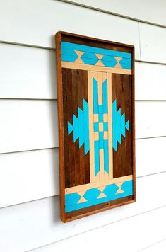 Reclaimed Wood Wall Art Geometric Design in Blue Lath Art Reclaimed Wood Wall Art, Wooden Wall Art, Diy Wall Art, Barn Quilt Patterns, Wood Patterns, Nativity Crafts, Wood Crafts, Ski Lodge Decor, Barn Door Designs