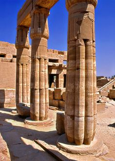 Egyptian temple columns in the shape of papyrus. Karnak.