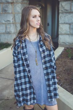 HOLIDAY SALE!! Smokey Plaid Flannel in Grey/Navy (40% OFF -- Today ONLY! While supplies last!)