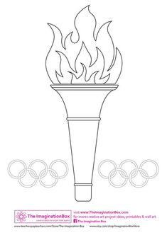 Olympic torch template - can decorate with tissue paper and mosaic tiles, or just let kids color